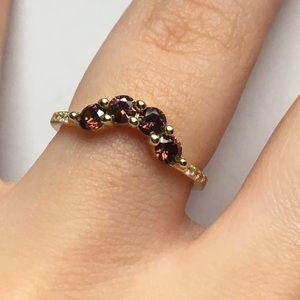 .925 Gold-Pink Garnet Stones and Diamonds